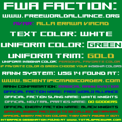 Free World Alliance Faction Colors