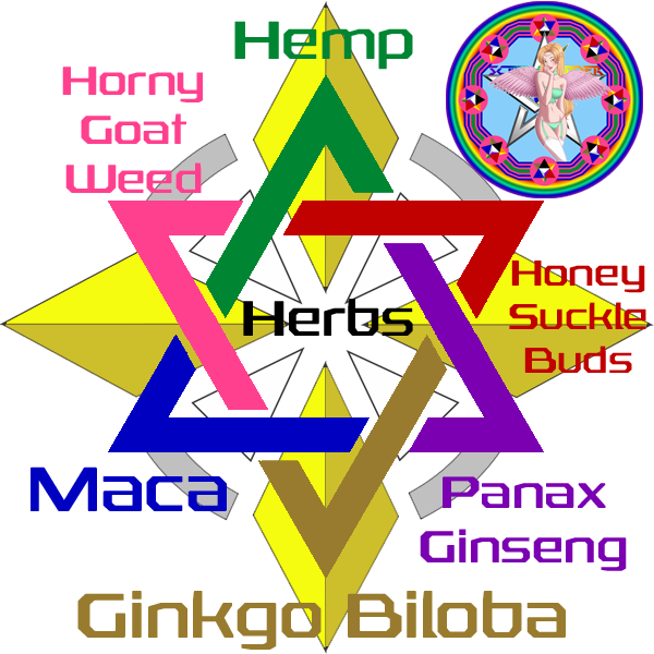 Herbs, Hemp, HoneySuckle Flower Buds, Panex Ginseng, Ginkgo Biloba, Maca, Horny Goat Weed